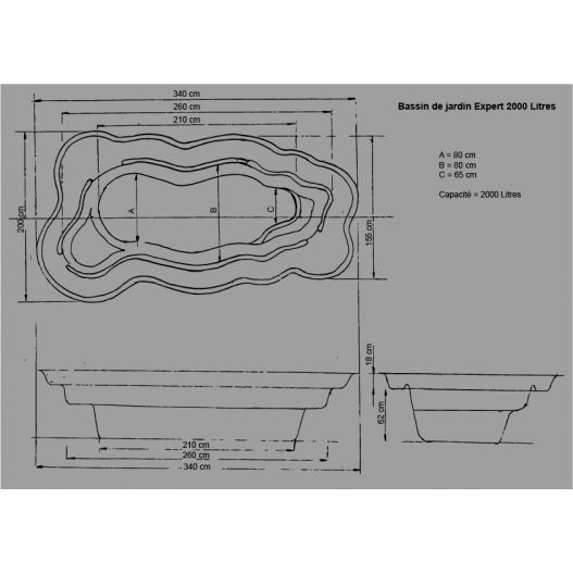 Bassin de jardin Préformé Expert 2000L
