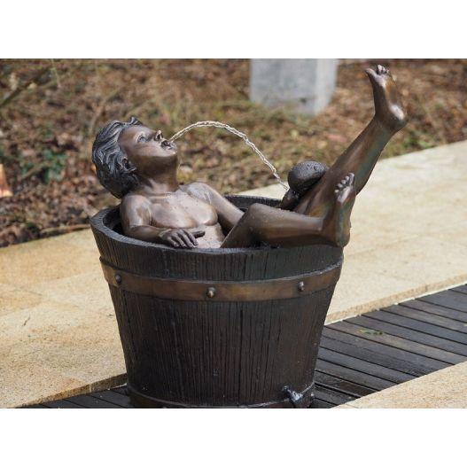 Statue Bronze enfant bain