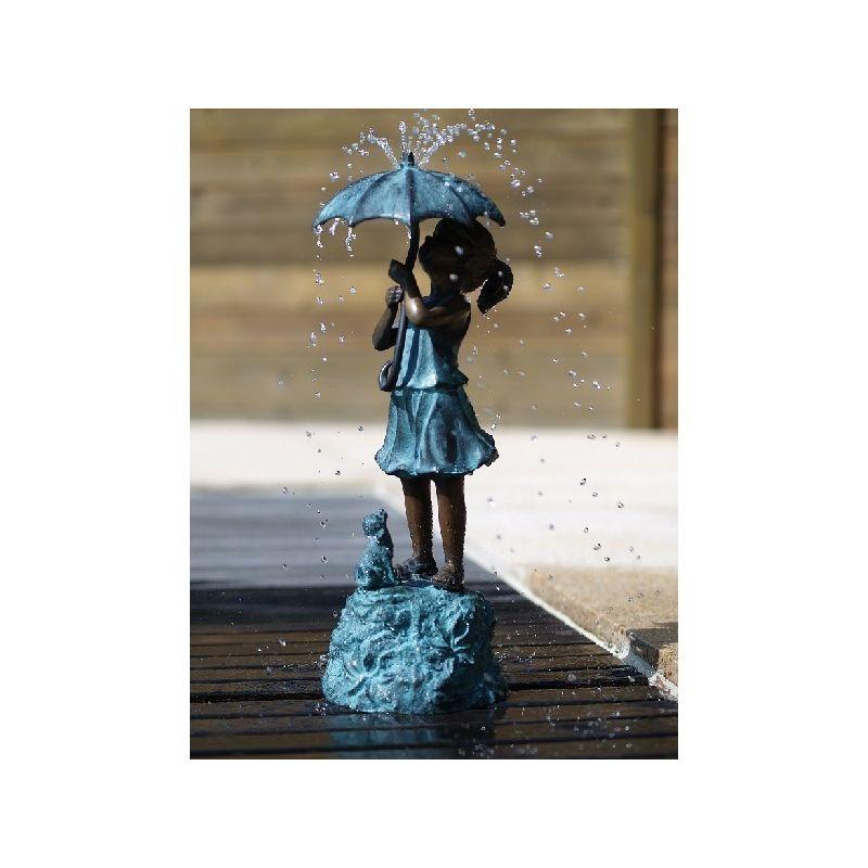 Statue Bronze fille parapluie