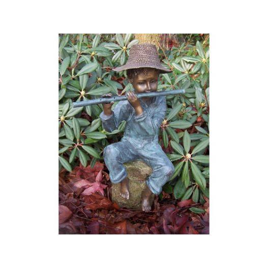 Statue Bronze enfant flûte