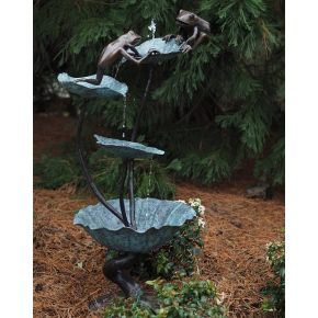 Statue Bronze fontaine à grenouilles